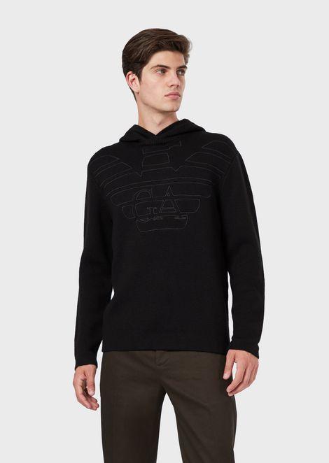 Jersey de mezcla de lana virgen con capucha y logotipo