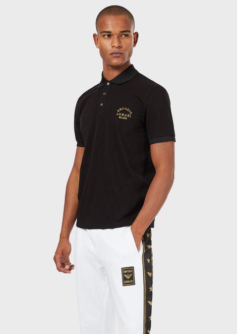 Cotton piqué polo shirt with embroidered logo