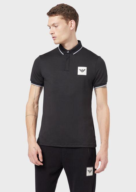 ポロシャツ ジャージー製 ステッチによるロゴ入りパッチ