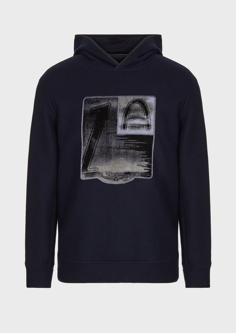 Hooded sweatshirt with chenille jacquard pattern