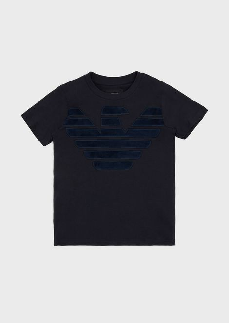 T-shirt with eagle embroidery in velvet