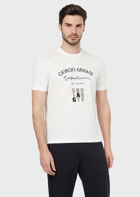 T-shirt in cotone pima con stampa floccata