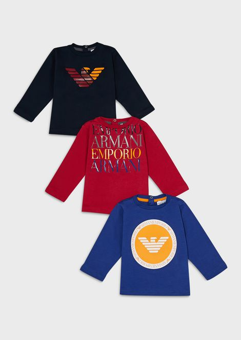 Pack of 3 logo-print sweaters