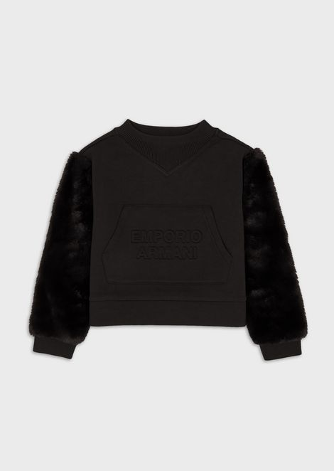 Sweatshirt with logo and plush-effect sleeves
