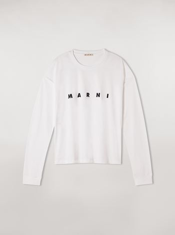 Marni White long-sleeve T-shirt in jersey with logo Woman