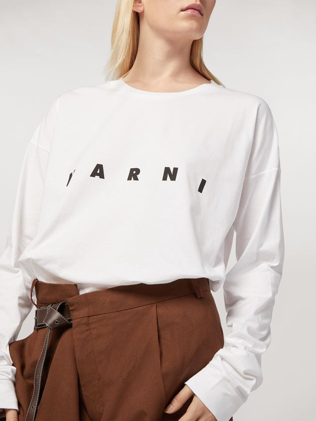 Marni White long-sleeve T-shirt in jersey with logo Woman - 4