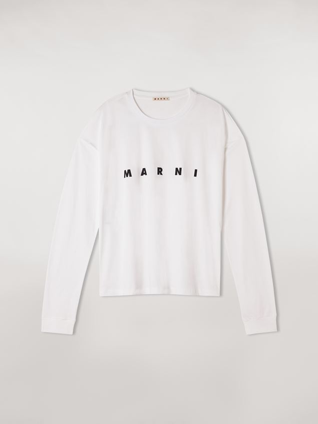 Marni White long-sleeve T-shirt in jersey with logo Woman - 1