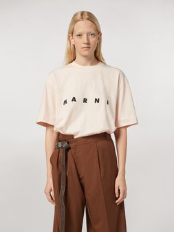 Marni Pink short-sleeve T-shirt in jersey with logo Woman