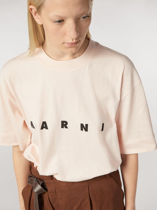 Marni Short-sleeved jersey T-shirt with frontal logo pink Woman - 4