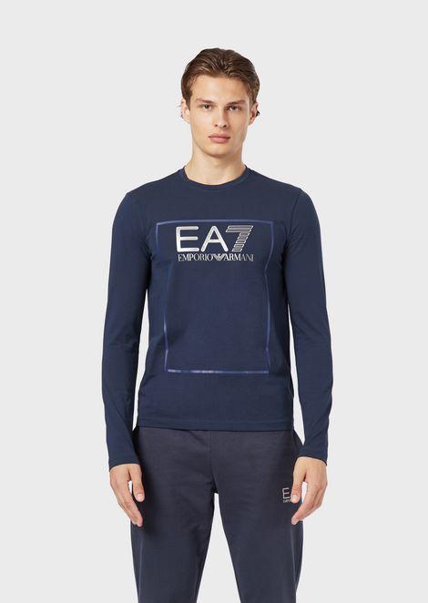 Stretch cotton T-shirt with EA7 logo print