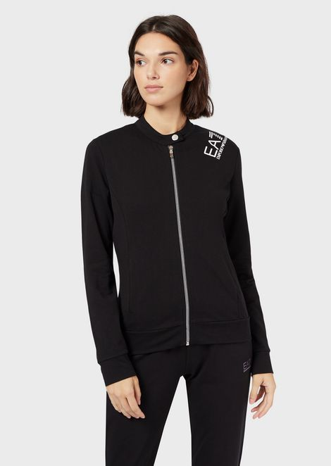 Full-zip sweatshirt in French terry fabric