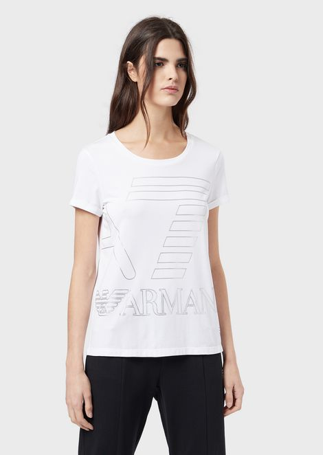 Stretch jersey T-shirt with maxi logo