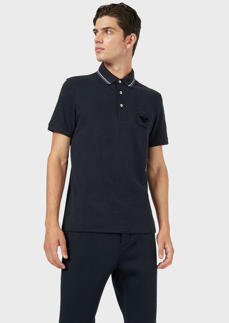 Stretch piqué cotton polo shirt with logo patch