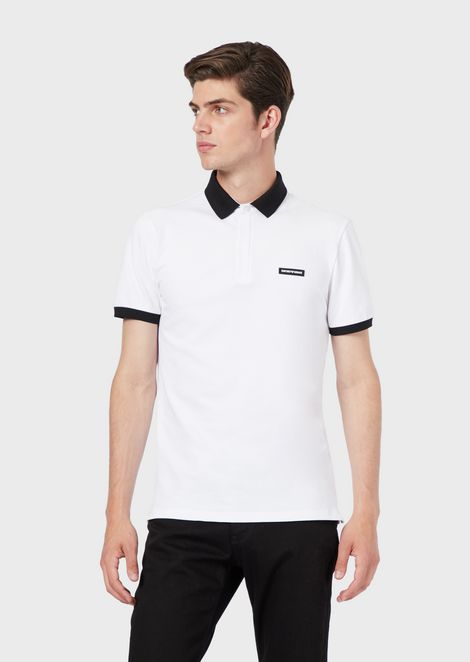 Stretch piqué polo shirt with logo on the chest