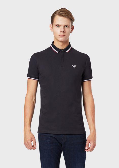 Stretch piqué polo shirt with contrasting trim