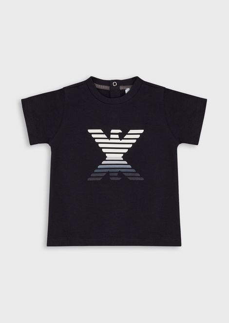 Jersey T-shirt with mirror-effect eagle