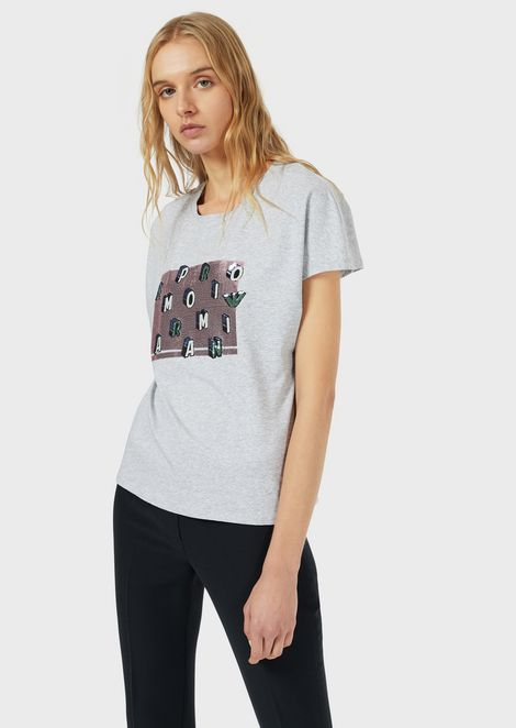 Stretch jersey T-shirt with embroidery and micro sequins