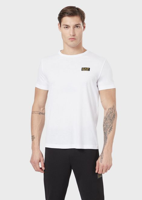 Pima cotton T-shirt with EA7 logo print