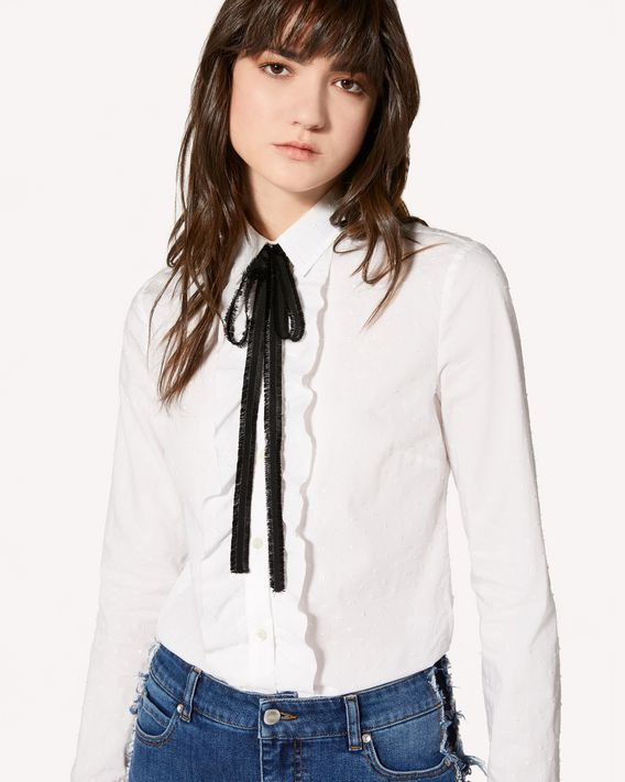 REDValentino Polkadot embroidered cotton poplin shirt