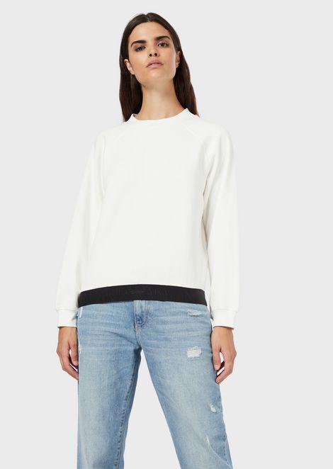 Sweatshirt with elasticated logo trim
