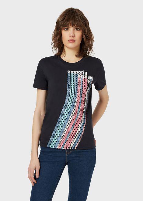 T-shirt en jersey stretch avec logo à effet optique