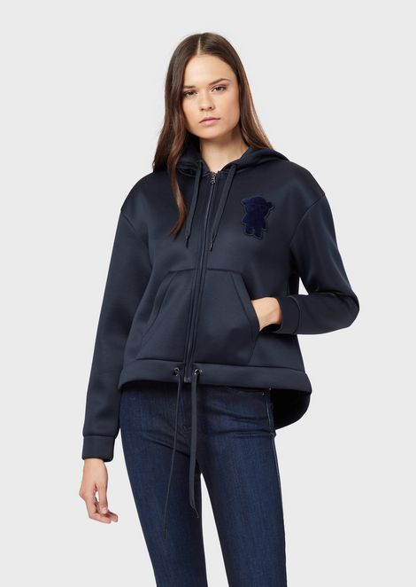 Oversized sweatshirt in shiny scuba with velvet Manga Bear patch