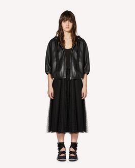 REDValentino Leather hooded caban
