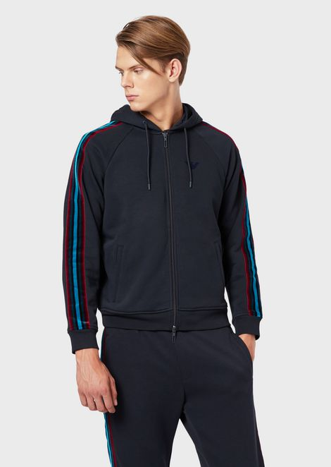Sweatshirt with zip, hood and side band