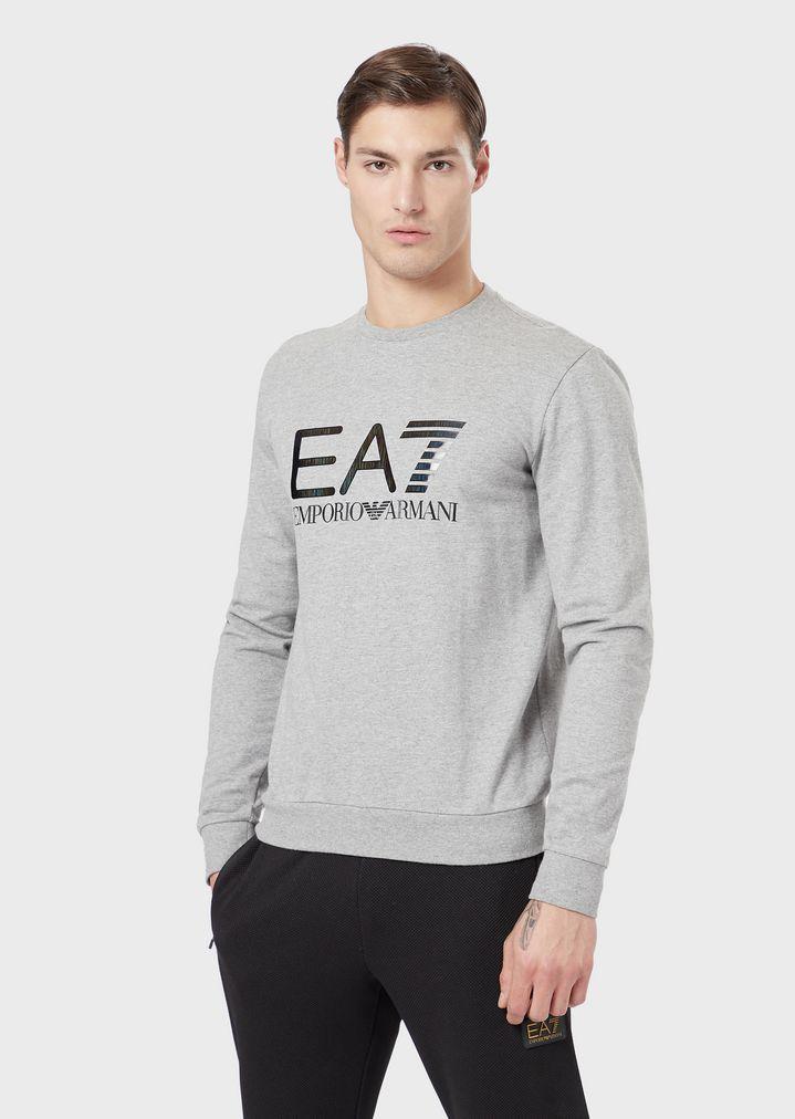 online store 28396 825e9 Felpa Train Logo in puro cotone con logo EA7