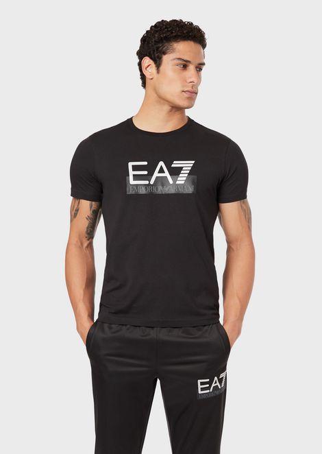 Camiseta de algodón elástico con logotipo EA7 estampado
