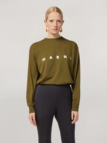 Marni T-shirt in jersey di cotone stampa Marni con manica lunga Donna f