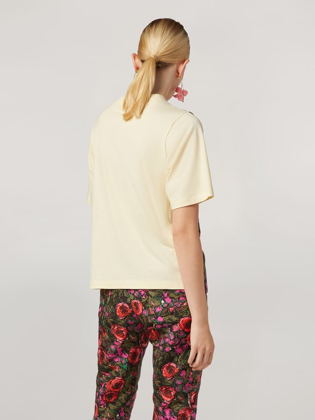 Marni Jersey T-shirt with top patch in faille Amarcord print Woman