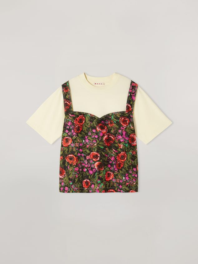 Marni Jersey T-shirt with top patch in faille Amarcord print Woman - 2