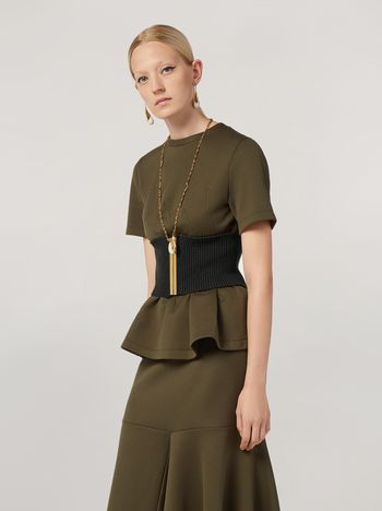 Marni T-shirt in double face jersey with wavy seamwork Woman f