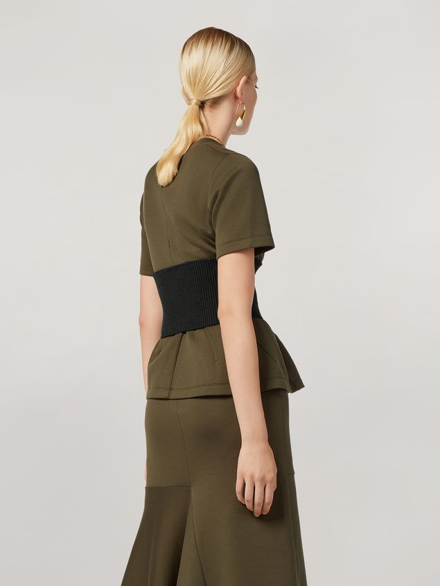 Marni T-shirt in double face jersey with wavy seamwork Woman