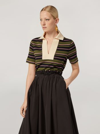 Marni T-shirt in ribbed striped yarn-dyed jersey Woman f