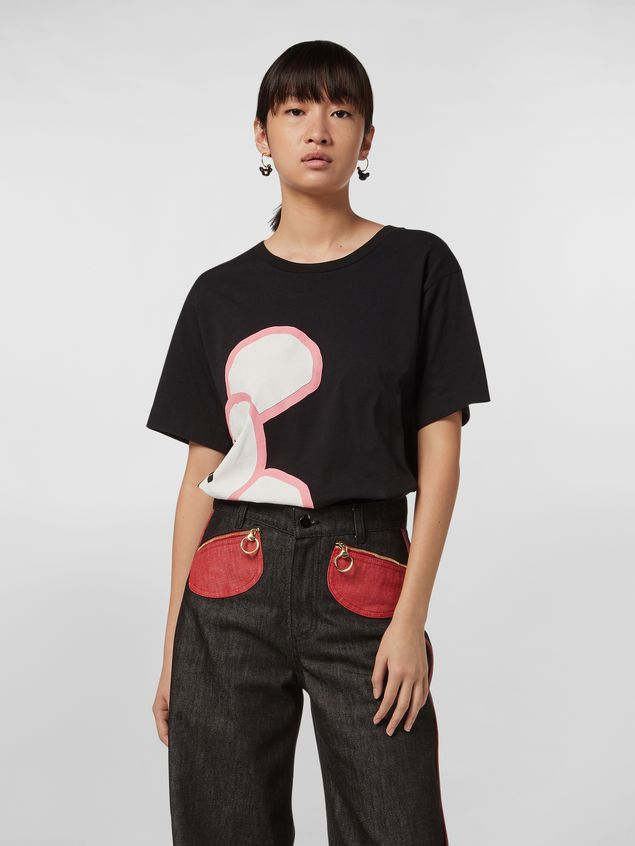 Marni CHINESE NEW YEAR 2020 crewneck T-shirt in black cotton jersey Woman - 1