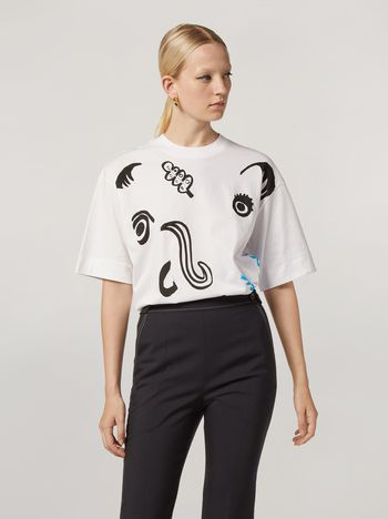 Marni T-shirt girocollo in jersey di cotone stampa Faces Donna f