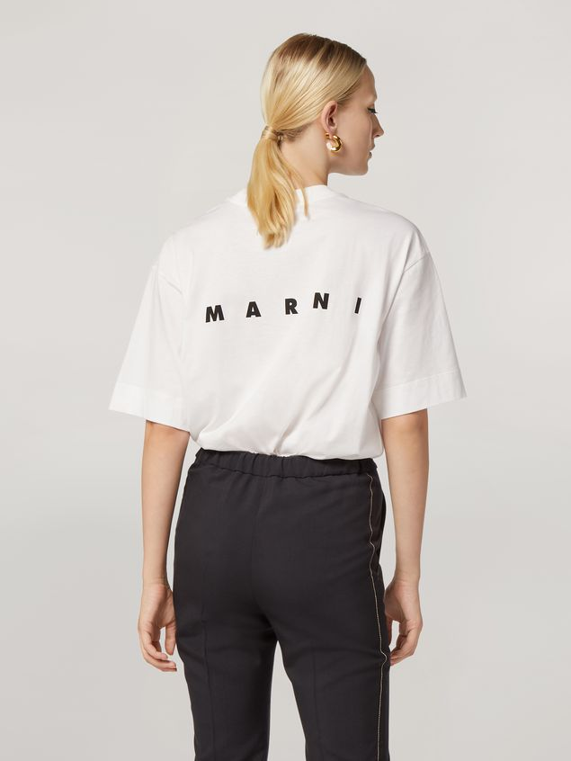 Marni Crewneck T-shirt in cotton jersey Faces print Woman