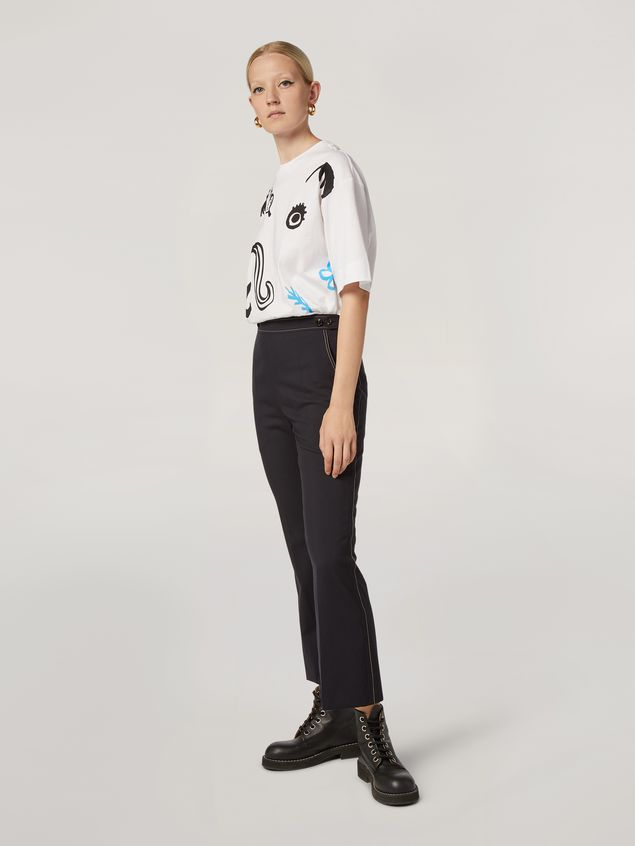 Marni Crewneck T-shirt in cotton jersey Faces print Woman - 5