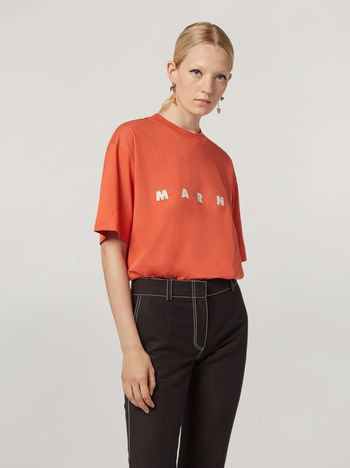 Marni Short-sleeved T-shirt in cotton jersey Marni print Woman f
