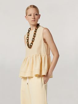 Marni Flounced top in raw viscose ramié Woman