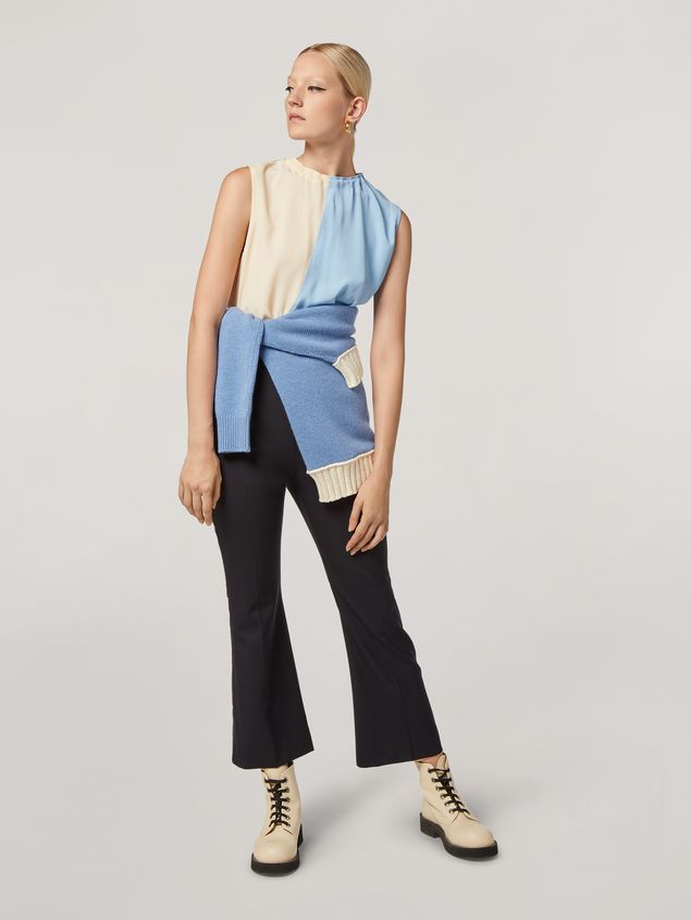 MARNI Top Woman Tunic in lightweight washed crepe with back buttoning a