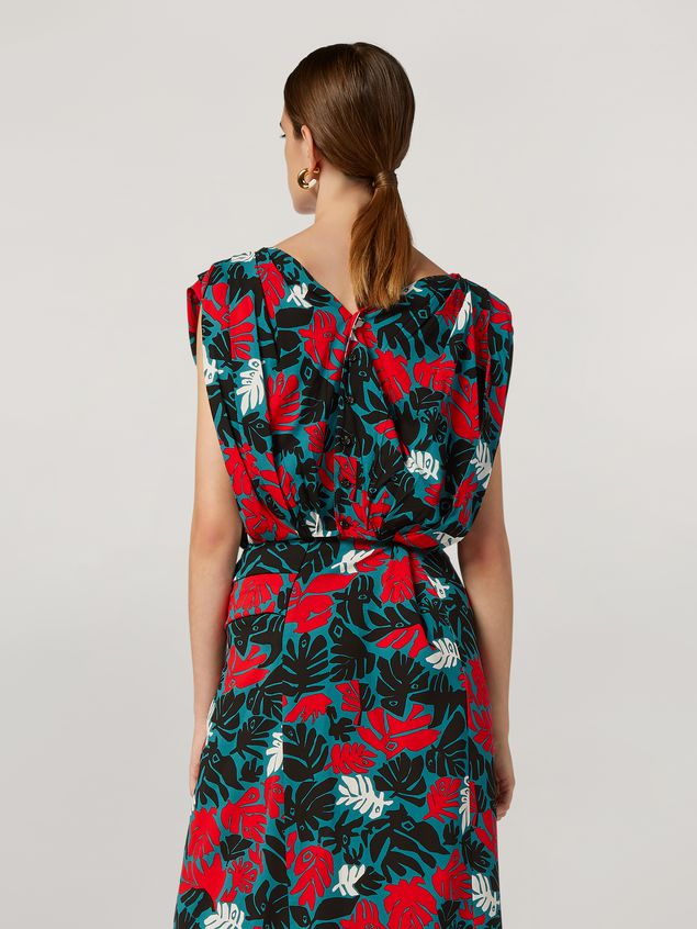 Marni Draped top in viscose sablé Eyed Leaves print Woman
