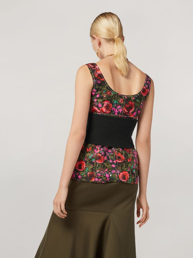 Marni Top in faille Amarcord print with contrasting topstitching Woman