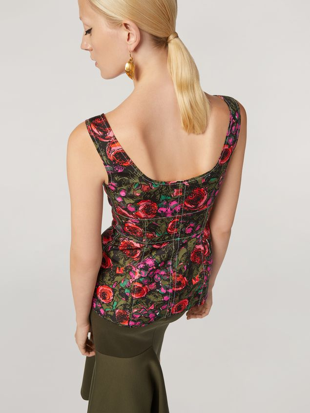 Marni Top in faille Amarcord print with contrasting topstitching Woman - 4