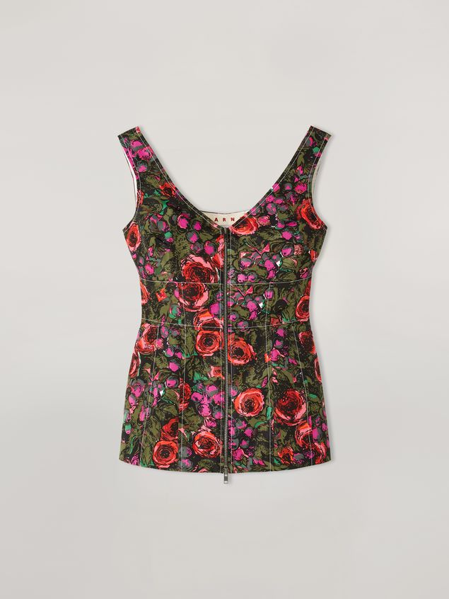 Marni Top in faille Amarcord print with contrasting topstitching Woman - 2