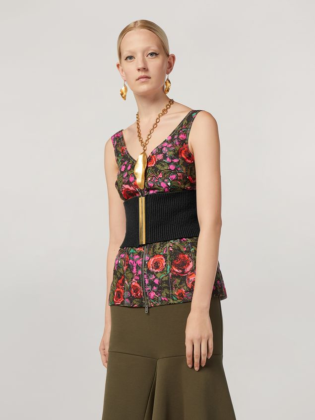 Marni Top in faille Amarcord print with contrasting topstitching Woman - 1