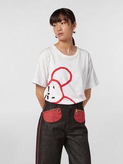 Marni CHINESE NEW YEAR 2020 crewneck T-shirt in white cotton jersey Woman