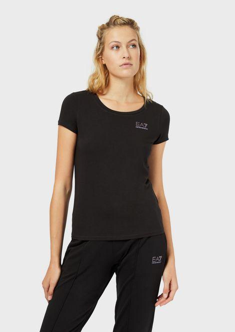 T-shirt en jersey avec petit logo strass